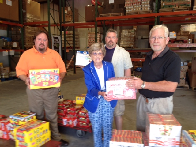 Linda Hubbard with BackPack Donations