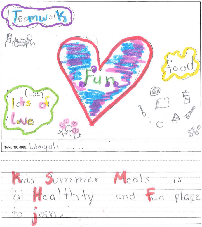 Kid's Drawing of What Kids Summer Meals means to her