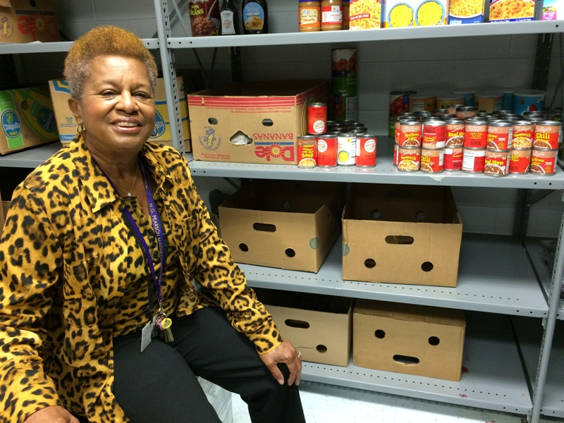 Photo of Marcelle Thomas in school food pantry