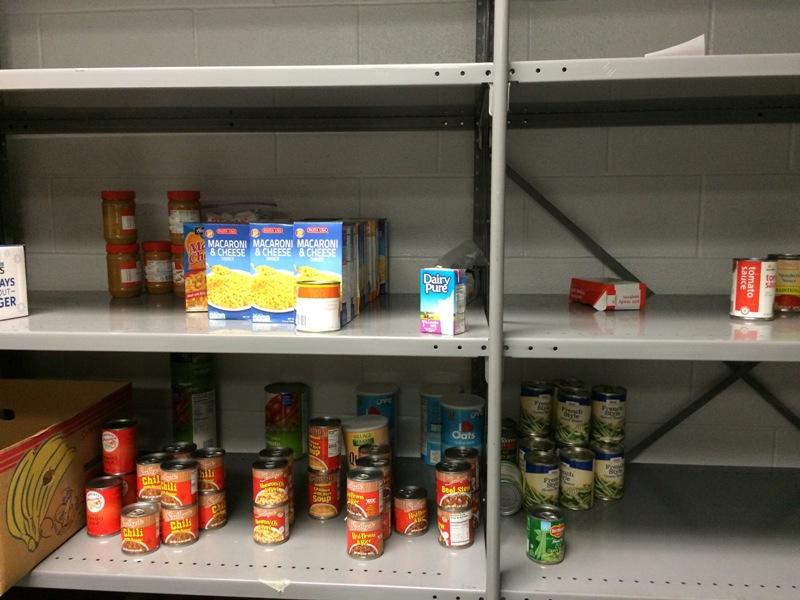Photo of school pantry shelves