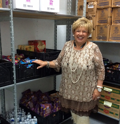 Photo of Dianne Andrews in the school pantry