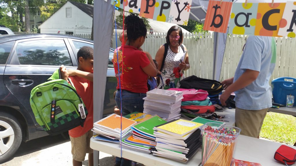NC A. Philip Randolph Institute's book bag giveaway
