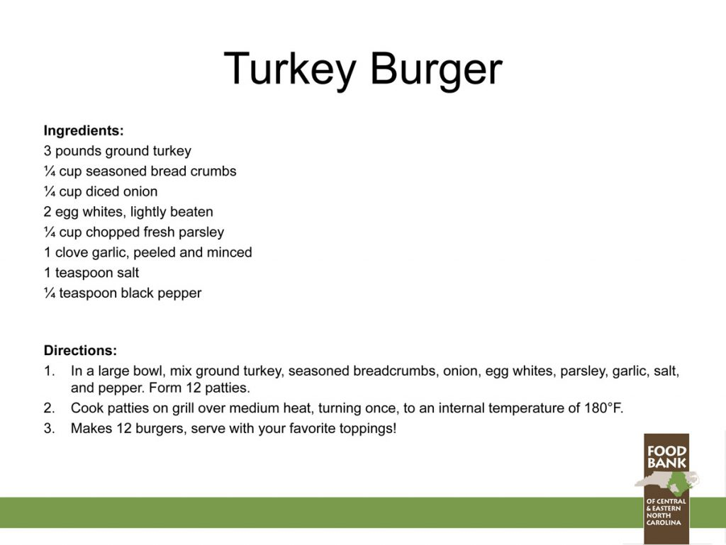 Health Cookouts recipe turkey burger